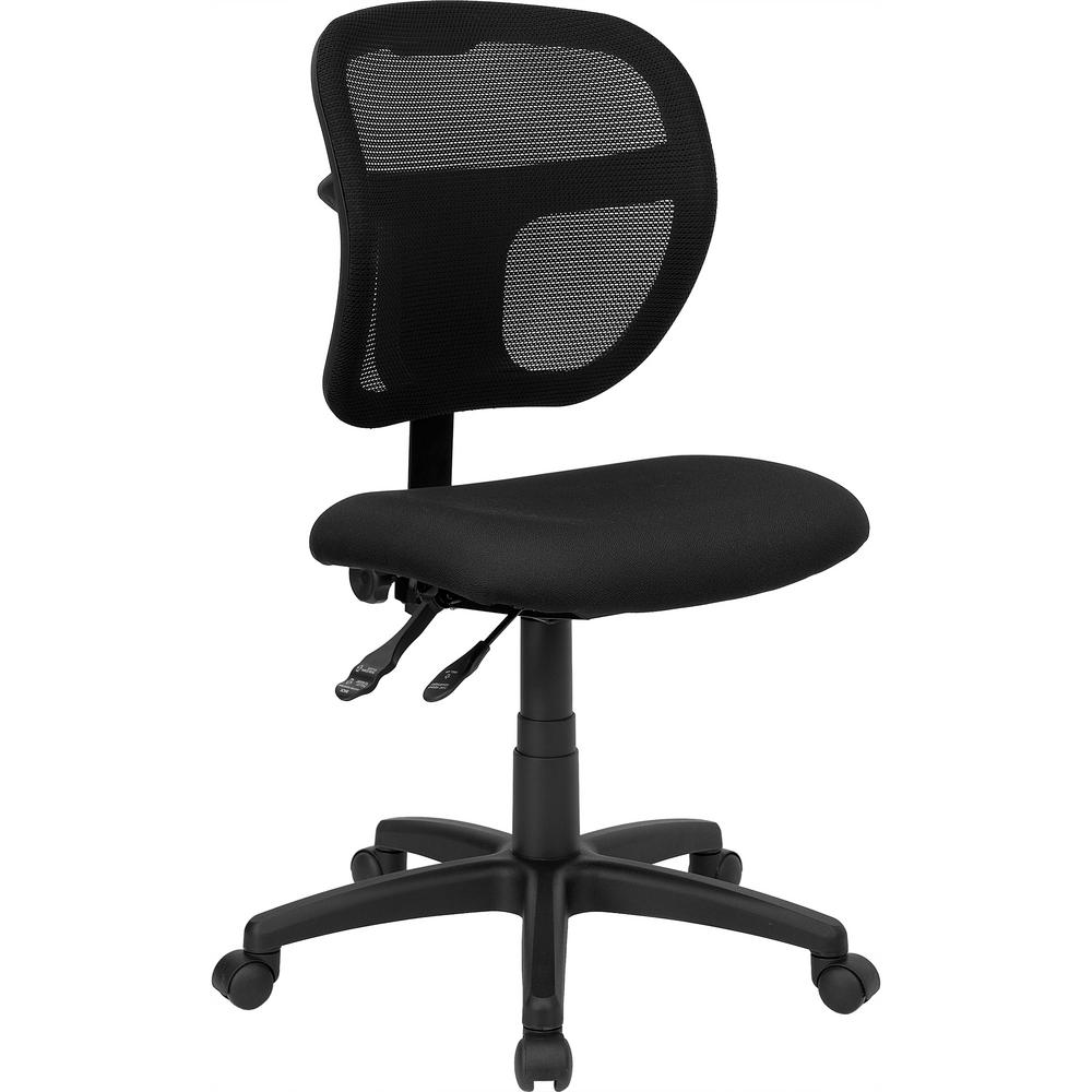 Mid-Back Black Mesh Swivel Task Chair with Fabric Padded Seat