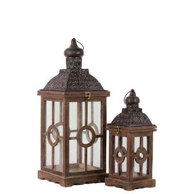 Weathered Wood Brown Candle Lantern