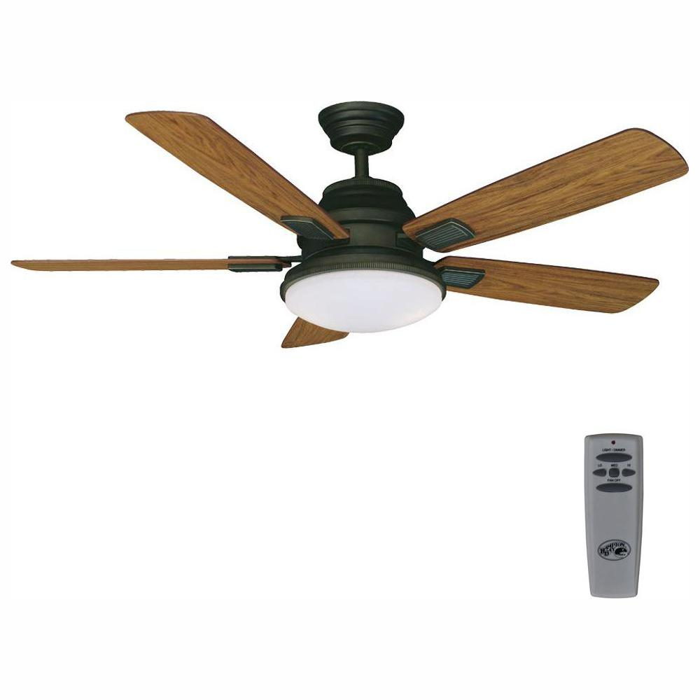 Hampton Bay Latham 52 in. LED Indoor Oil Rubbed Bronze Ceiling Fan with Light Kit and Remote Control