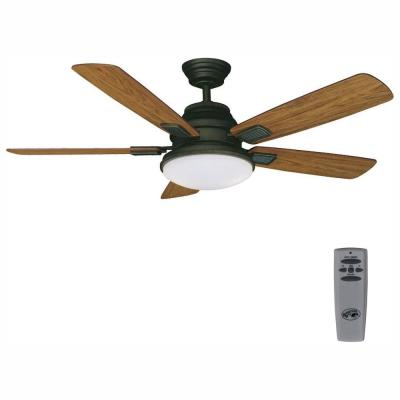 Latham 52 in. LED Indoor Oil Rubbed Bronze Ceiling Fan with Light Kit and Remote Control