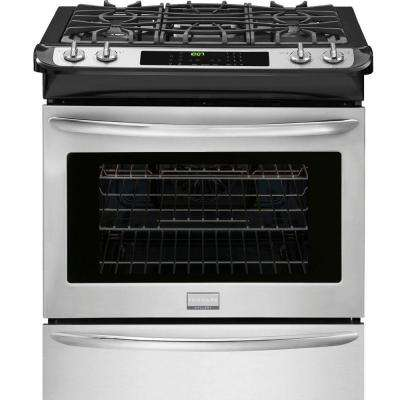 30 in. 4.5 cu. ft. Slide-In Gas Range with Self-Cleaning Convection Oven in Stainless