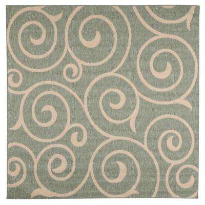 Whirl Natural/Sage 9 ft. x 9 ft. Square Indoor/Outdoor Area Rug