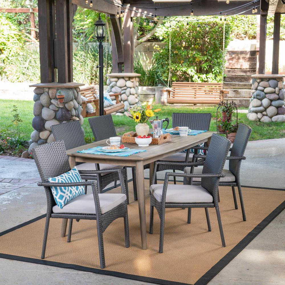 Noble House Talbot Gray 7-Piece Wood And Wicker Outdoor