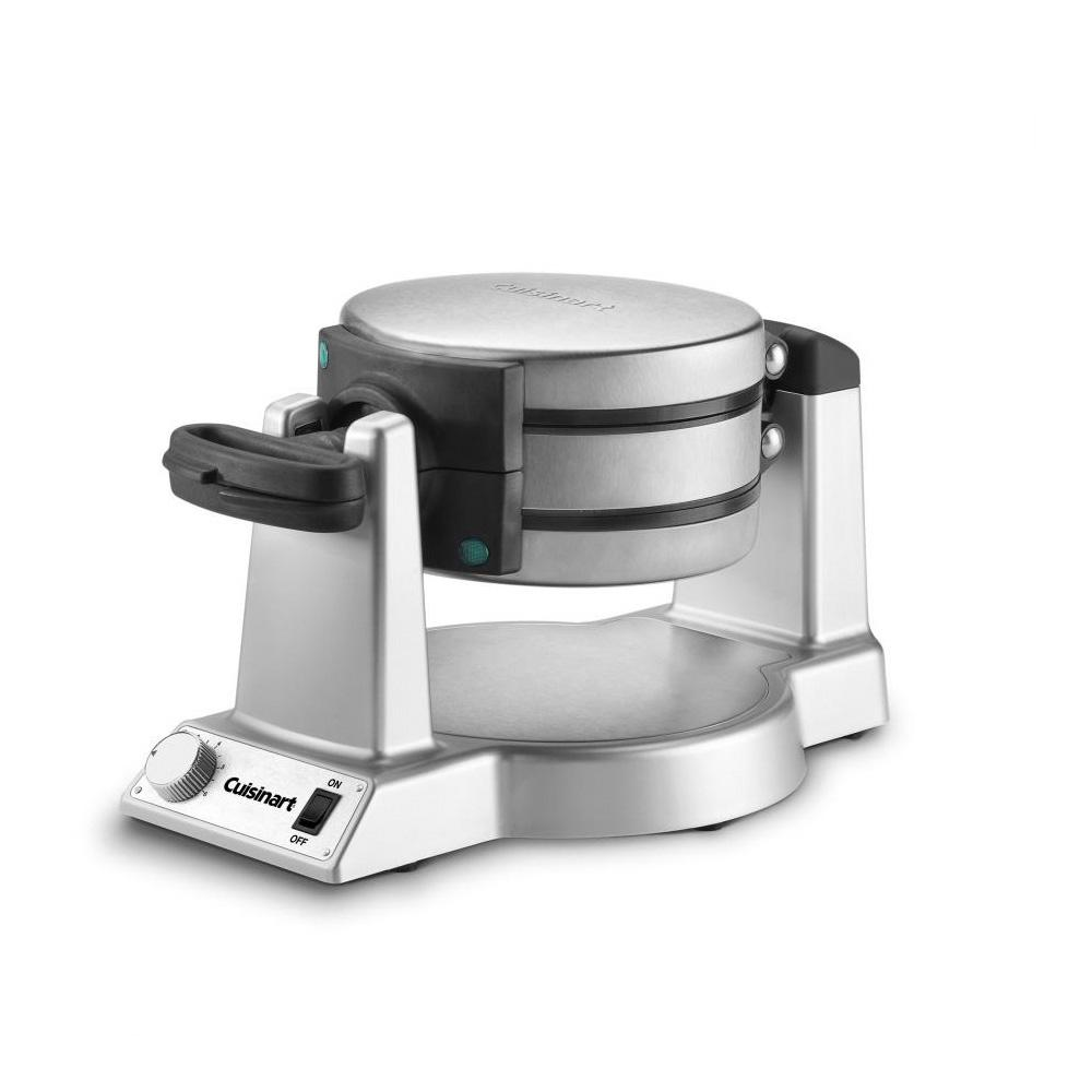 Cuisinart Belgian Waffle Maker, Stainless The Cuisinart Belgian Waffle Maker cooks two thick, delicious Belgian waffles that are crispy on the outside and light and fluffy on the inside. 6-setting browning control knob ensures both waffles are cooked expertly. The nonstick coating wipes clean, providing no mess and easy cleanup, plus effortless food release. Color: Stainless.