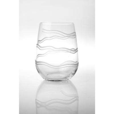 Good Vibrations 17 oz. Clear Stemless Wine Tumbler (Set of 4)