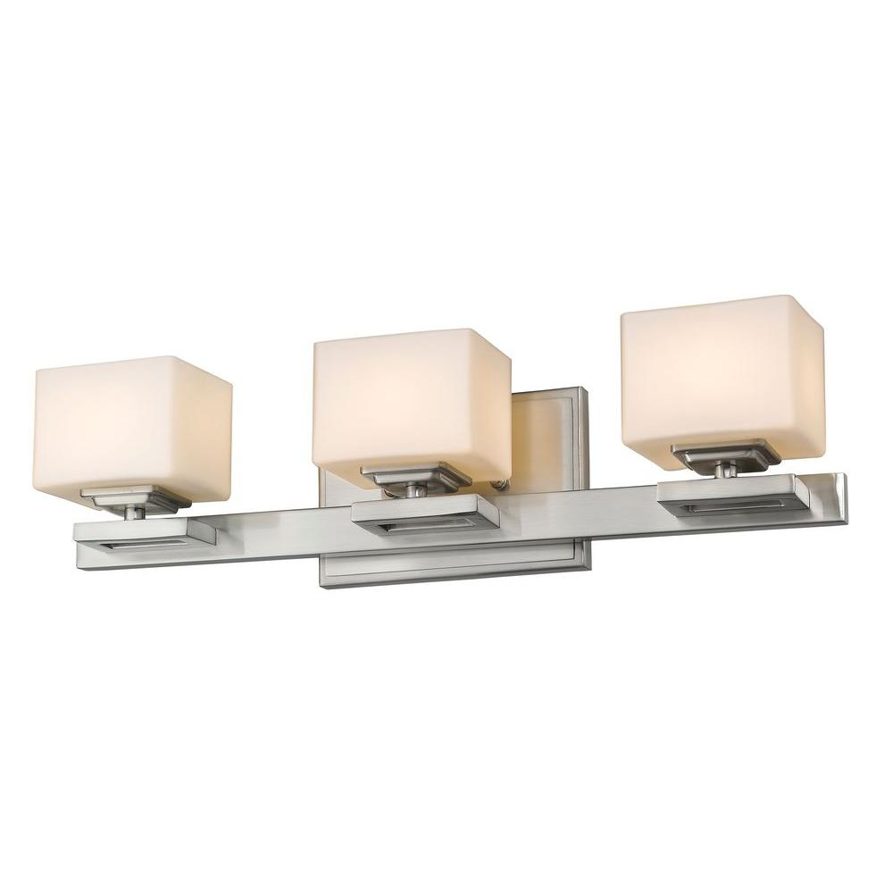 Zemka 3-Light Brushed Nickel Bath Vanity Light