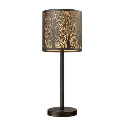 Woodland Sunrise 20 in. Aged Bronze Portable Lamp