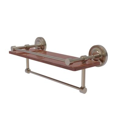 Prestige Regal Collection 16 in. IPE Ironwood Shelf with Gallery Rail and Towel Bar in Antique Pewter