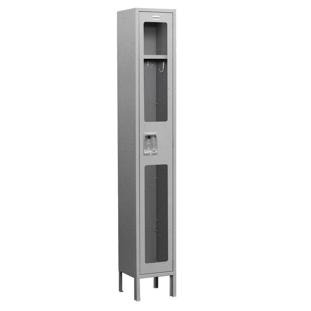 S-61000 Series 12 in. W x 78 in. H x 12 in. D Single Tier See-Through Metal Locker Unassembled in Gray