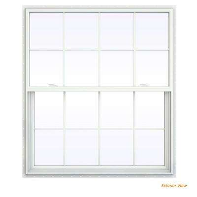 47.5 in. x 47.5 in. V-2500 Series White Vinyl Single Hung Window with Colonial Grids/Grilles