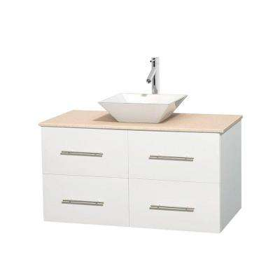 Centra 42 in. Vanity in White with Marble Vanity Top in Ivory and Porcelain Sink