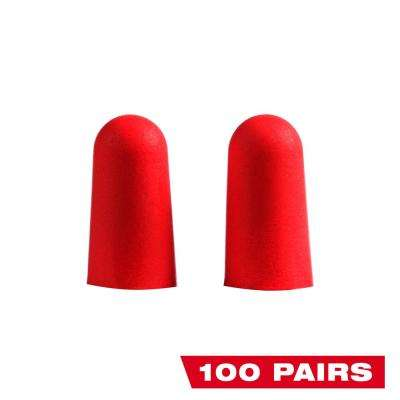 Red Disposable Earplugs (100-Pack) with 32 dB Noise Reduction Rating