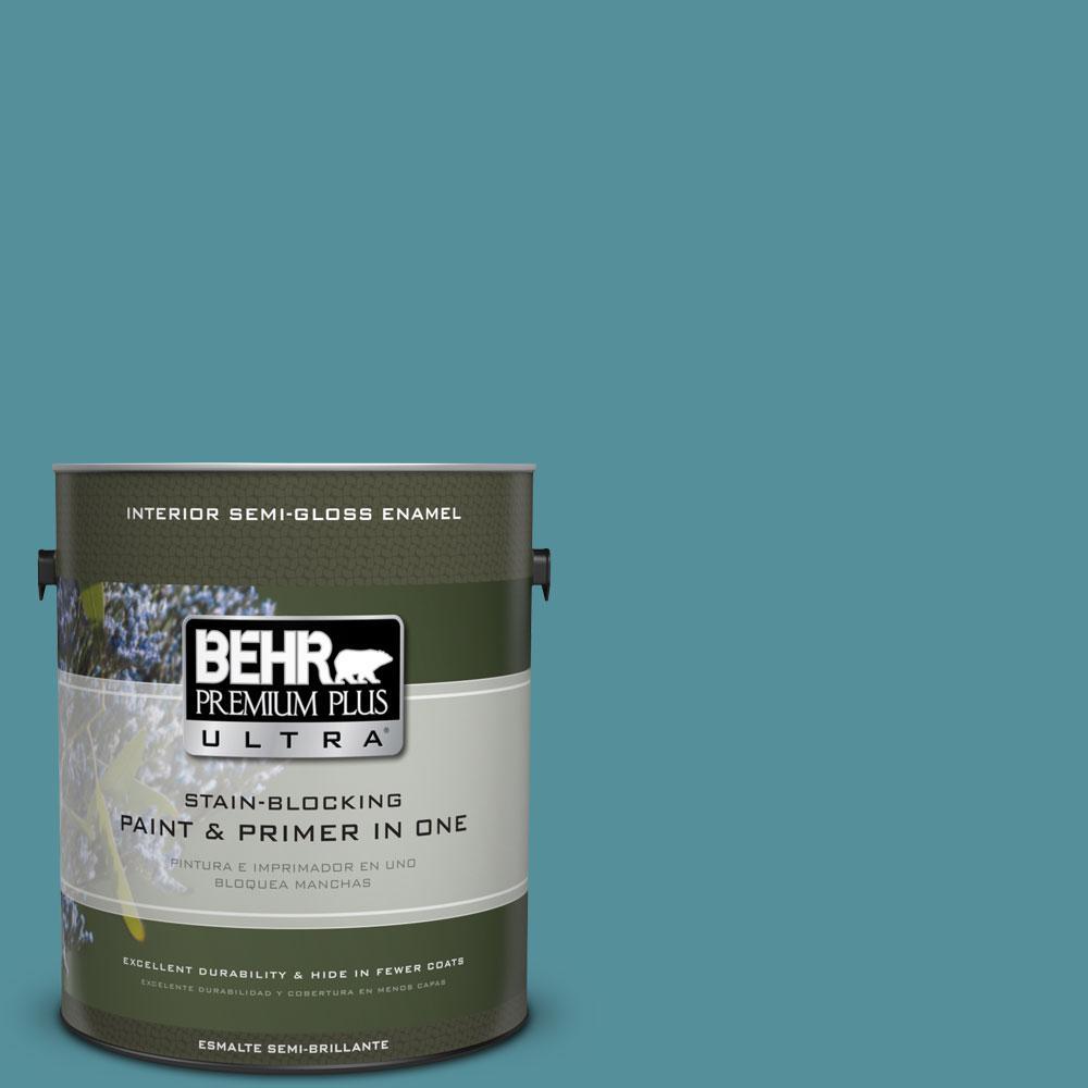 1 gal. #HDC-AC-23A Cabana Blue Semi-Gloss Enamel Interior Paint