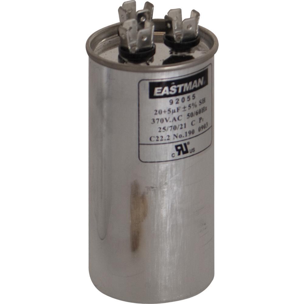 Eastman 45 5 Mfd 370 Vac Round Dual Run Capacitor 92062