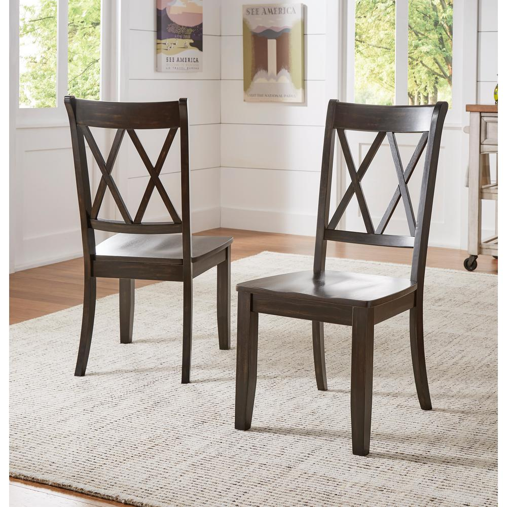 Sawyer Antique Black Wood X-Back Dining Chair (Set fo 2)