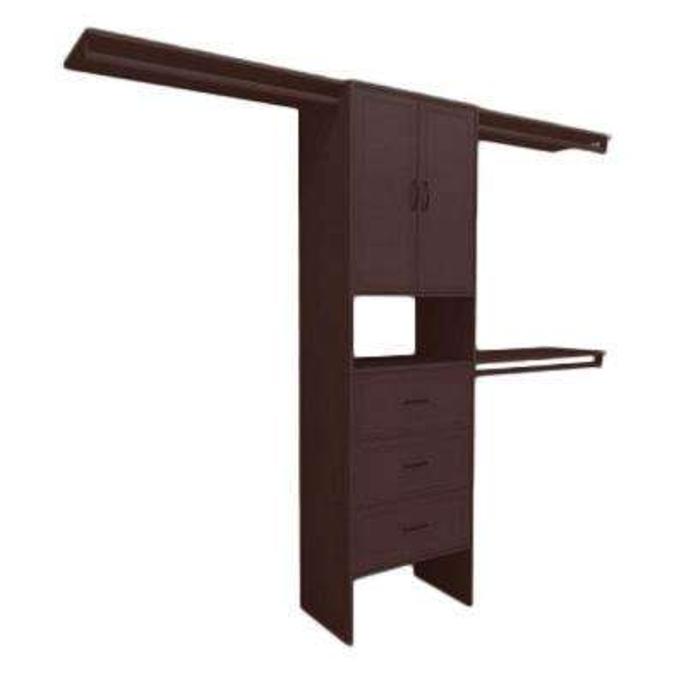 14.5 in. D x 120 in. W x 83 in. H Mocha Premium Wood Closet System
