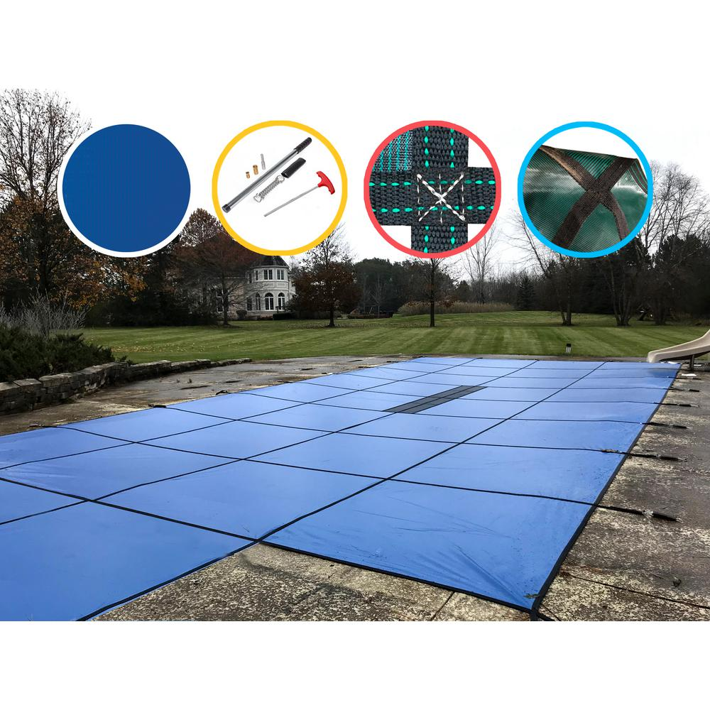 WaterWarden 20 ft. x 40 ft. Rectangle Blue Solid In-Ground Safety Pool Cover Center End Step