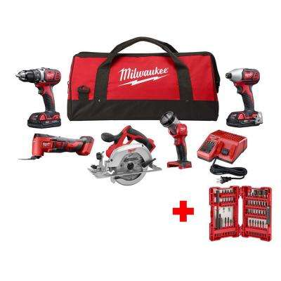 M18 18-Volt Lithium-Ion Cordless Combo Tool Kit (5-Tool) with SHOCKWAVE Impact Bit Set (45-Piece)