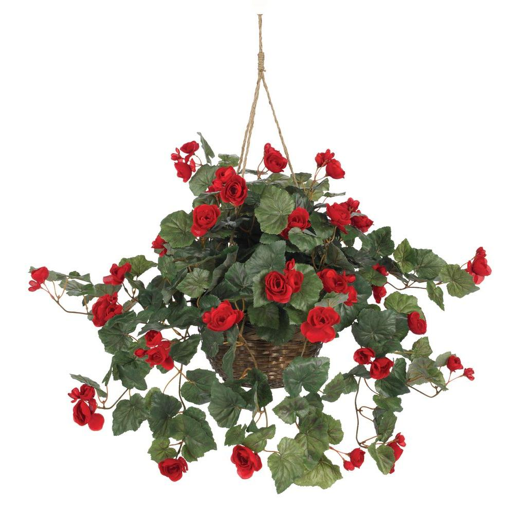 Nearly Natural 24 in. Begonia Silk Plant Hanging Basket