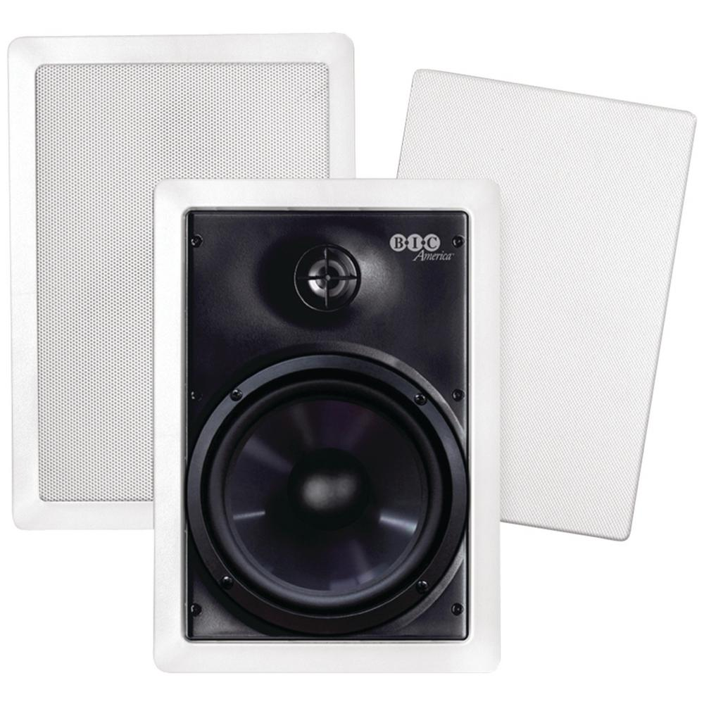 150W 6.5 in. Weather-Resistant In-Wall Speakers with Pivoting Tweeters- Metal