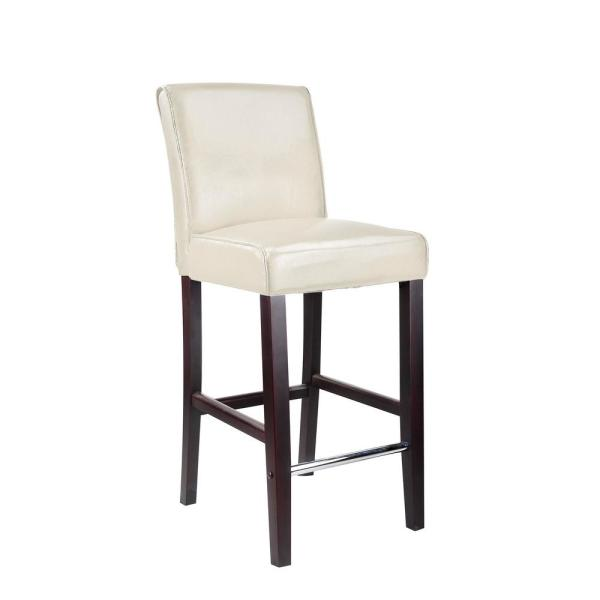 CorLiving Dad-513-B Antonio Bar Height Barstool in White Bonded Leather