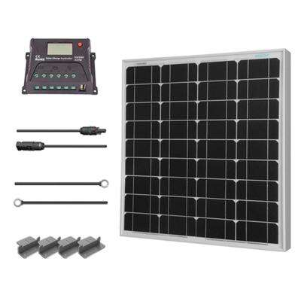 50-Watt 12-Volt Solar Starter Kit for Off-Grid Applications