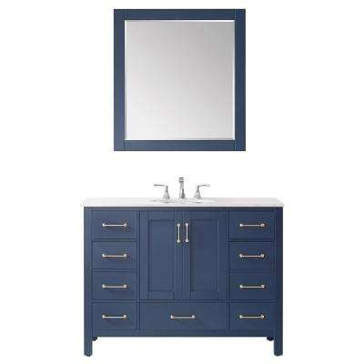 "Gela 48"" Single Vanity in RoyalBlue with Carrara White Marble Countertop With Mirror"