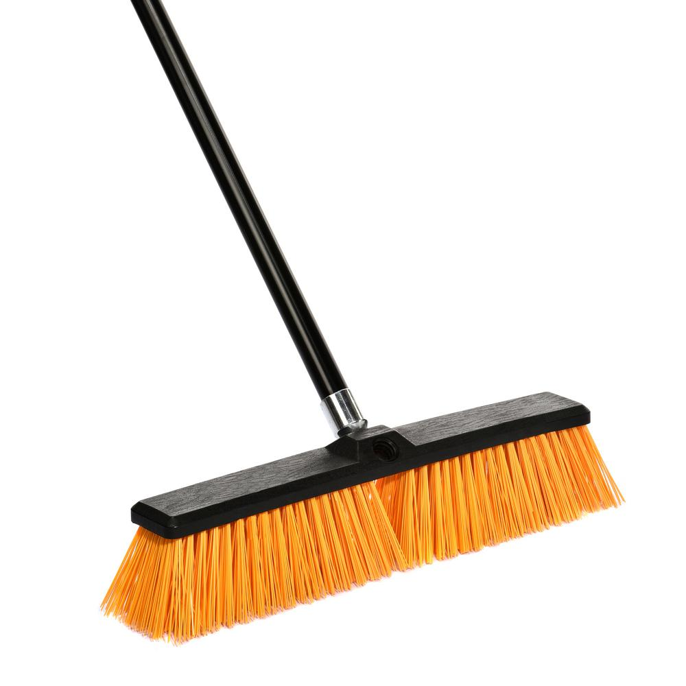 18 in. Orange Indoor Outdoor Rough Surface Push Broom