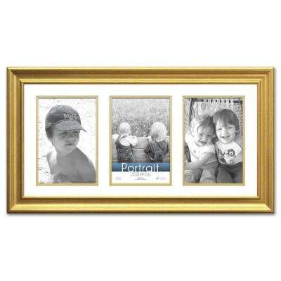 Lauren 3-Opening 20 in. x 10 in. Gold Matted Picture Frame