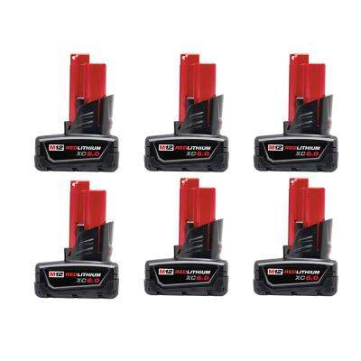 M12 12-Volt Lithium-Ion XC Extended Capacity Battery Pack 6.0Ah (6-Pack)
