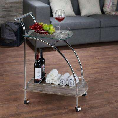 Badin Chrome and Oak Serving Cart