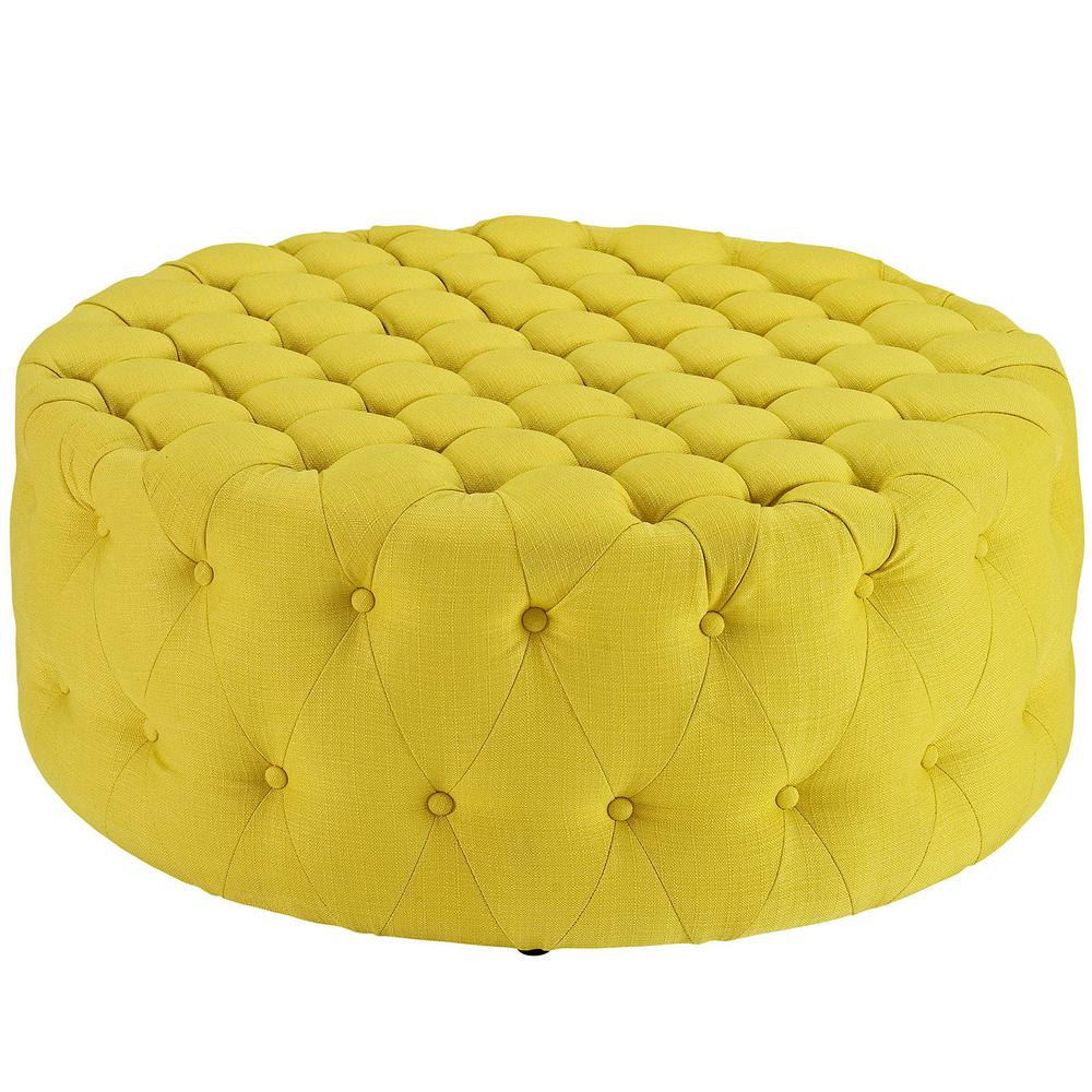 Sunny Amour Upholstered Fabric Ottoman