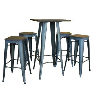 Loft Style Rustic Gunmetal Bar Table Set with Dark Elm Wood Tops (5-Piece)