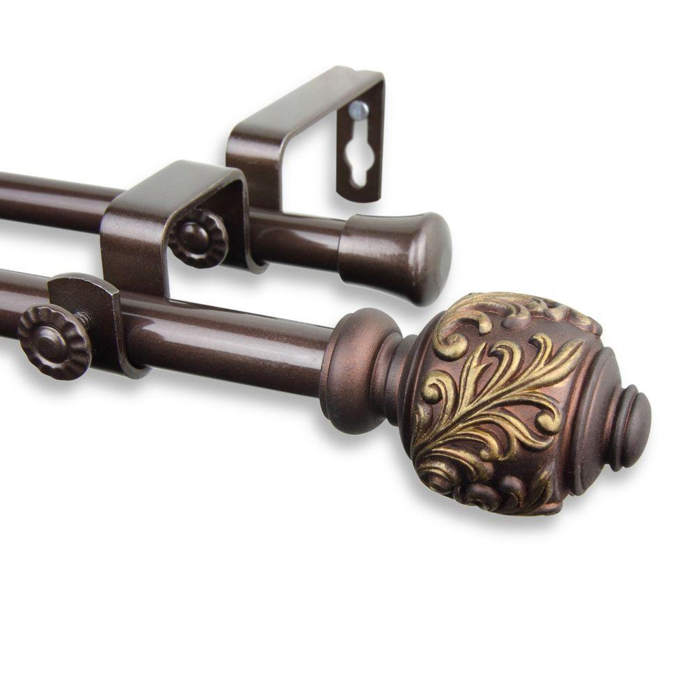 Rod Desyne 84 in. - 120 in. Telescoping 5/8 in. Double Curtain Rod Kit in Cocoa with Tilly Finial