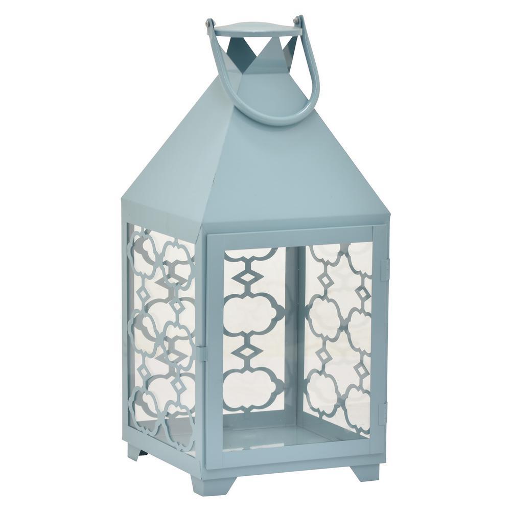 20 in. Blue Metal Decorative Lantern