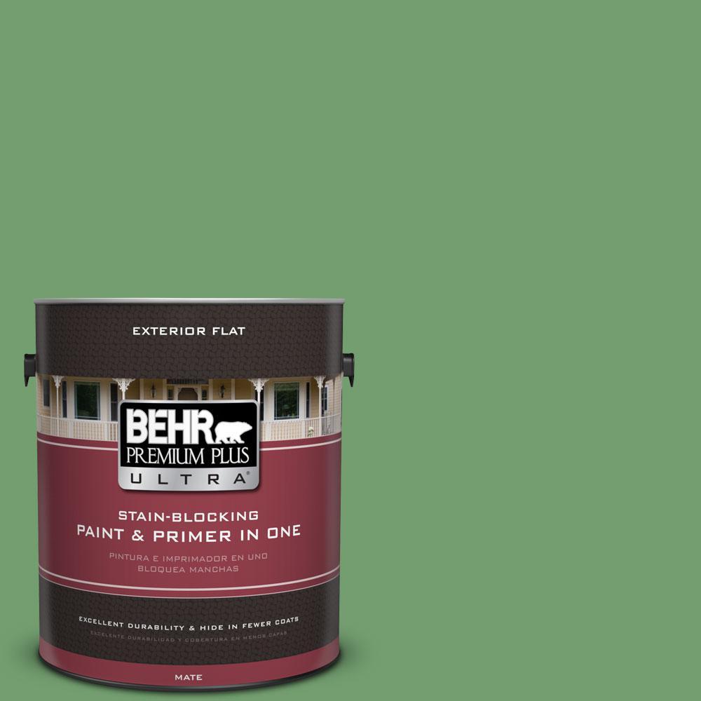 BEHR Premium Plus Ultra 1-gal. #450D-6 Shire Green Flat Exterior Paint