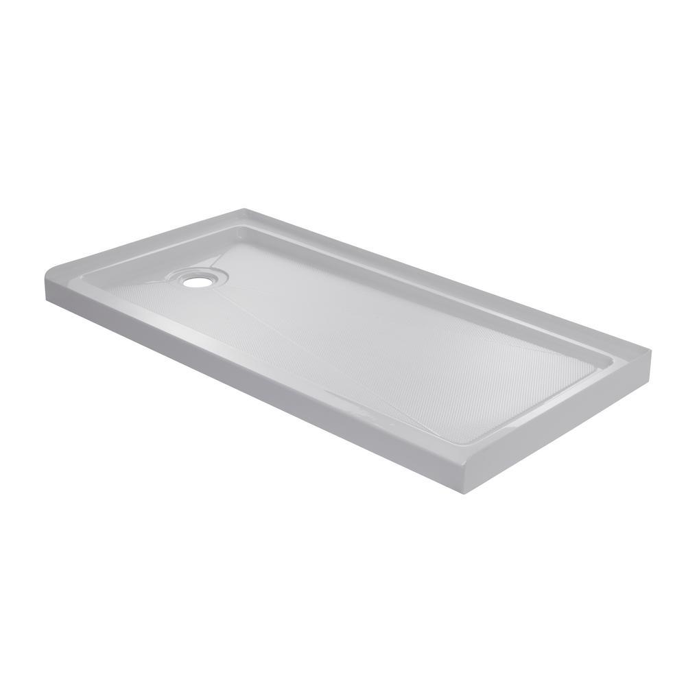 60 in. x 32 in. Single Threshold Left Drain Shower Base in White