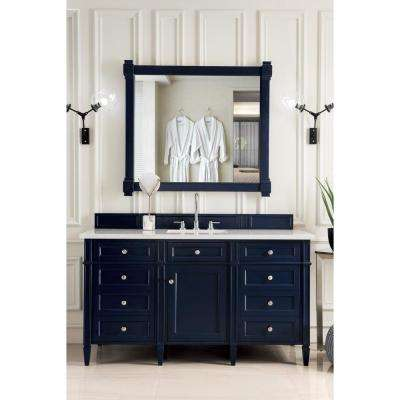 Brittany 60 in. W Single Bath Vanity in Victory Blue with Quartz Vanity Top in Eternal Jasmine Pearl with White Basin