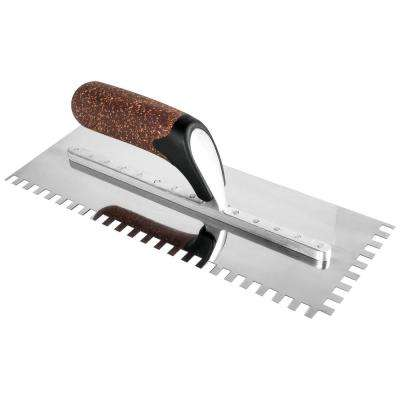 X-Treme Series 12 in. Square-Notch Flooring Trowel with Cork Handle and 1/4 in. x 1/4 in. x 1/4 in. Notch Size