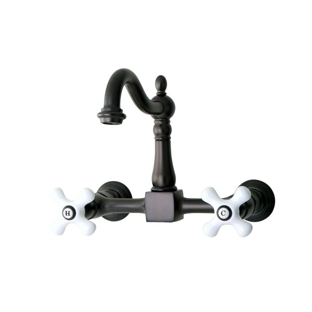 Kingston Brass Victorian Porcelain Cross 2-Handle Wall-Mount Kitchen Faucet In Oil Rubbed Bronze