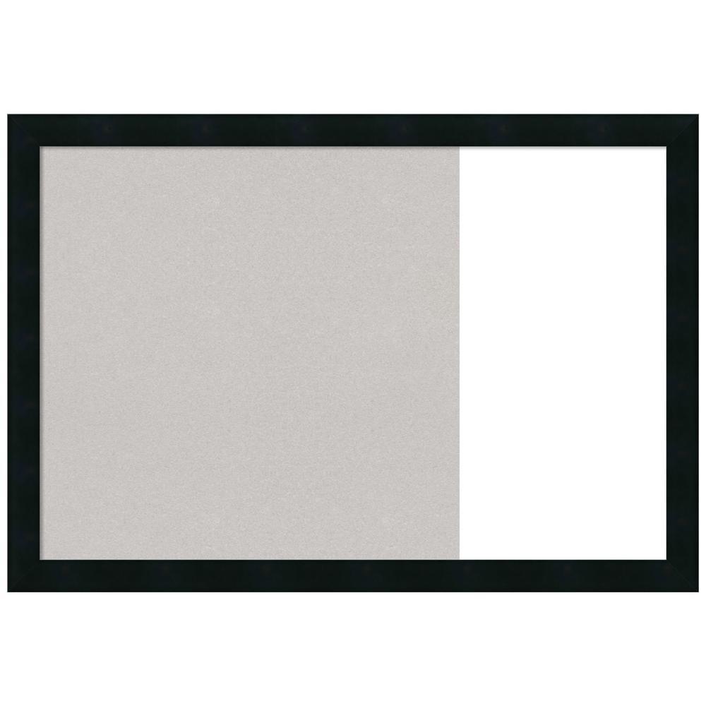 Mezzanotte Black 29 in. x 20 in. Grey Cork and White Dry Erase Wood Combo Memo Board