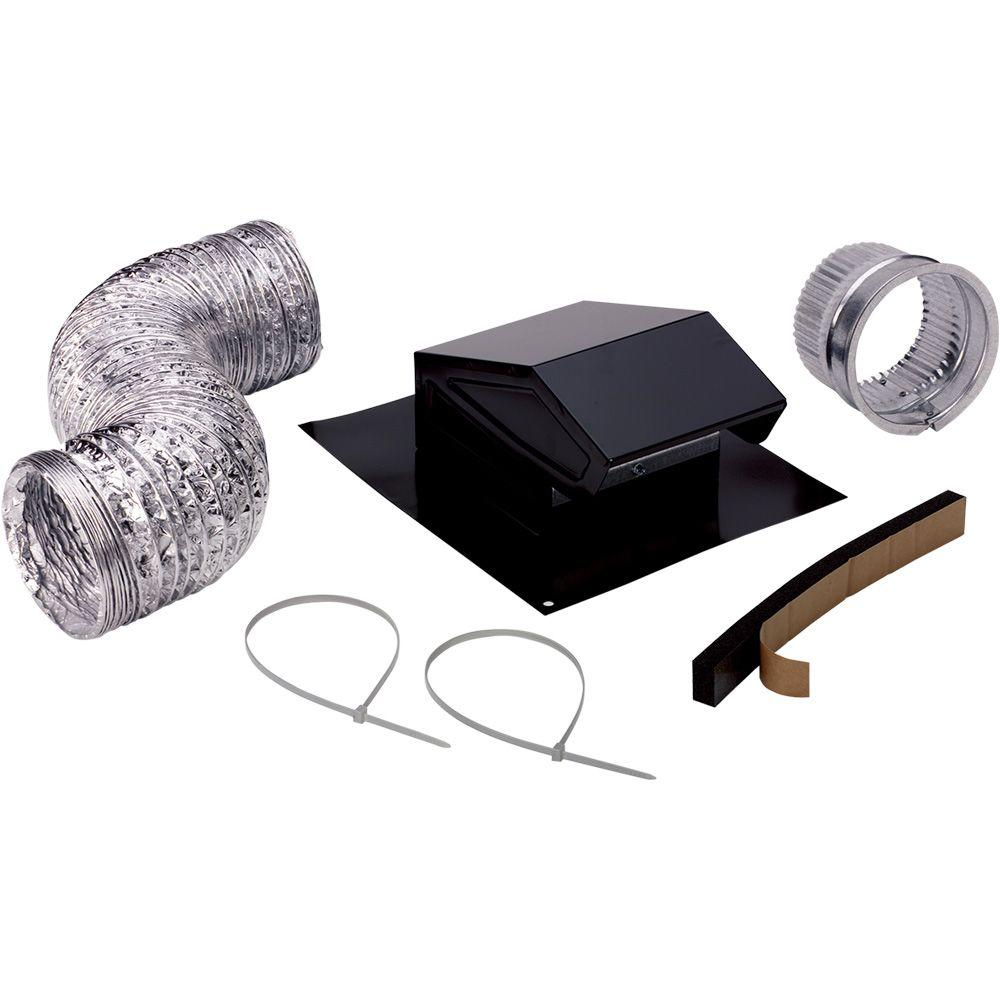 Broan-NuTone 3 in. to 4 in. Roof Vent Kit for Round Duct Steel in Black