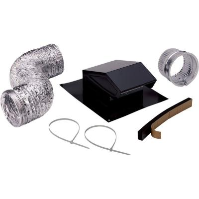 3 in. to 4 in. Roof Vent Kit for Round Duct Steel in Black