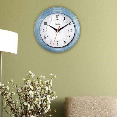 8 in. H x 8 in. W Round Slate Blue Plastic Analog Wall Clock