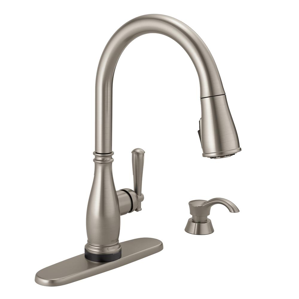 Delta Charmaine Single Handle Pull Down Sprayer Kitchen Faucet With Touch2o And Shieldspray Technologies In Stainless 19962tz Sssd Dst The Home Depot