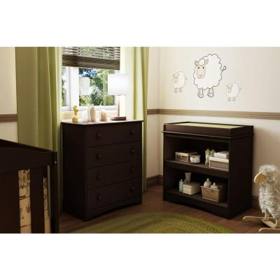 Peek-A-Boo Espresso Changing Table
