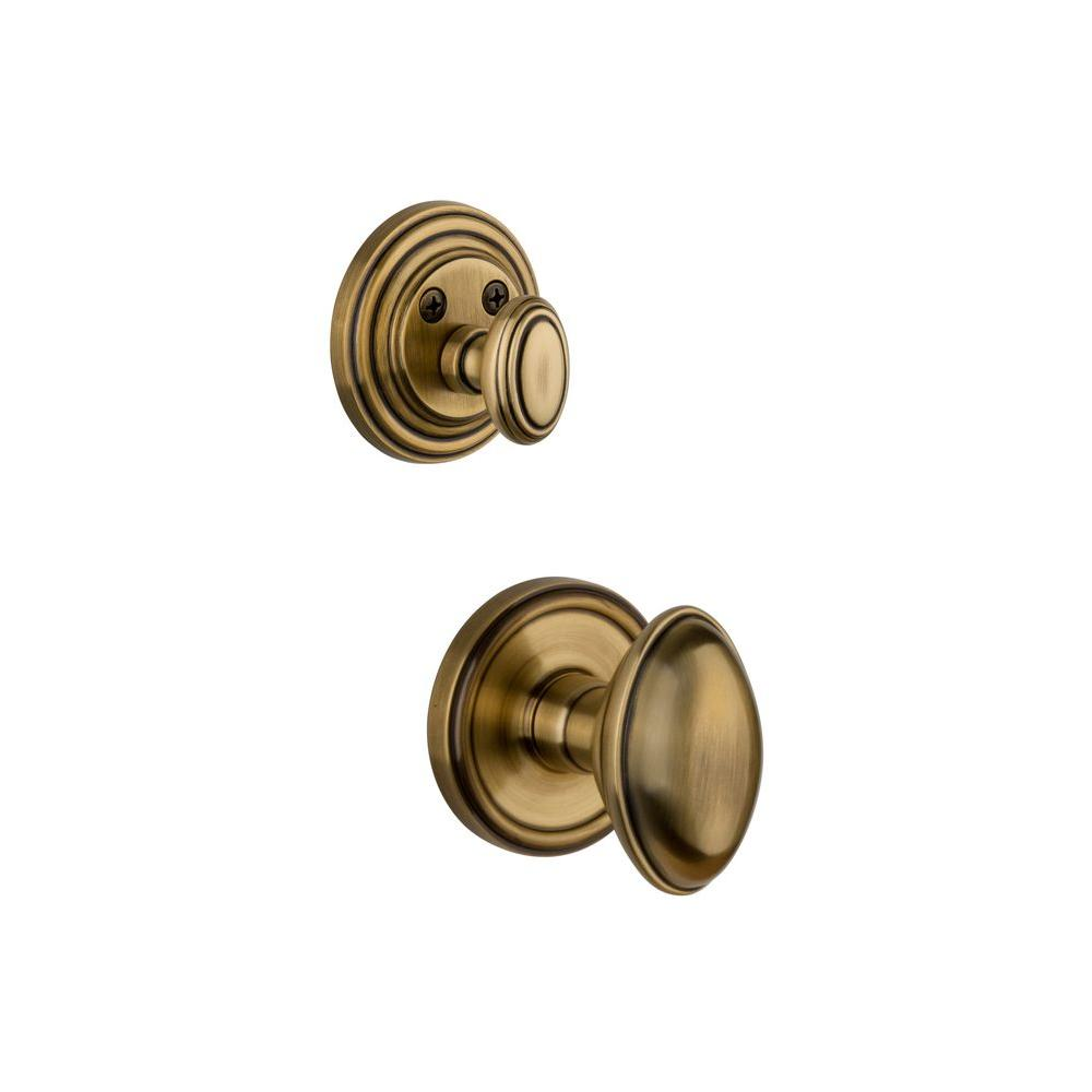 Grandeur Georgetown Single Cylinder Vintage Brass Combo Pack Keyed Alike with Eden Prairie Knob and Matching Deadbolt