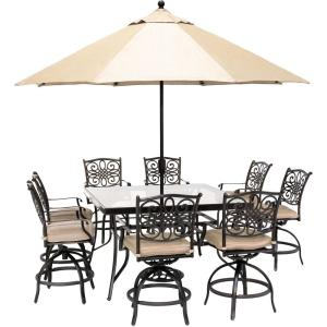 Traditions 9-Piece Aluminum Outdoor Dining Set with Natural Oat Cushions, 8-Swivel Chairs, Table, Umbrella and Stand
