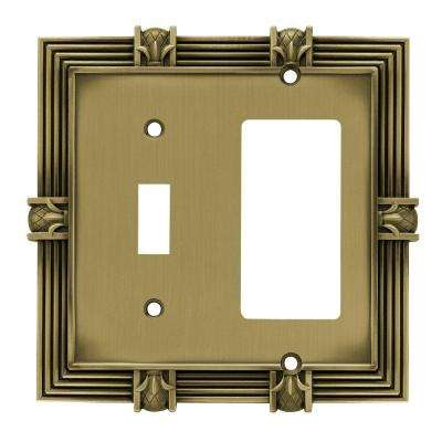 Pineapple Decorative Switch and Rocker Switch Plate, Tumbled Antique Brass