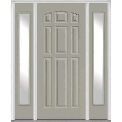 64.5 in. x 81.75 in. Left-Hand Full Lite Clear 9-Panel Painted Fiberglass Smooth Exterior Door with Sidelites